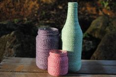 Twine-Covered Bottles and Jars, using Whimsy Farm Twine.