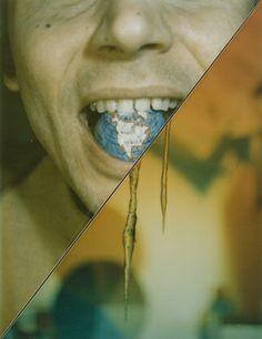 Lucas Samaras. Split (globe in mouth). 1973