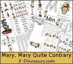 Free Mary, Mary Quite Contrary Pack - over 50 pages of activities plus a Tot Pack great for ages 2 to 7 - 3Dinosaurs.com