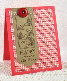 Happy Winter Birthday Card by Dawn McVey for Papertrey Ink (October 2012)