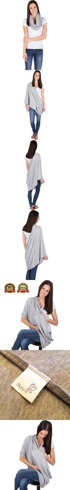 Breastfeeding Infinity Scarf & Nursing Cover by Mary B. Premium Soft Cotton, Grey.