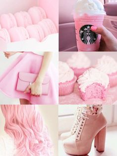 ♡ Lovin' It! Those shoes, Starbucks, Pink bags, Cupcakes and Macaroons im in heaven!♡ Pinterest : ღ Kayla ღ