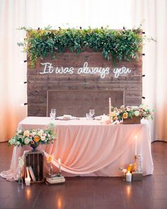 Neon is making a huge comeback! Neon signs and decorations are super trendy for weddings right now, they bring an edgy feel to boho, modern, minimalist and many Wedding Reception Decorations, Wedding Table, Wedding Venues, Decor Wedding, Edgy Wedding, Wedding Colors, Wedding Styles, Sweetheart Table Backdrop, Greenery Decor