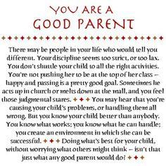 Your a good parent....