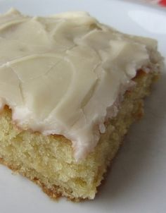 """White Texas Sheet Cake. It is cake flavored. Stop for a second and imagine the flavor """"birthday cake"""" and that is what this is. And the frosting is like the most incredible vanilla fudge with a rich hint of milk. It's bliss. Seriously, best cake ever."""