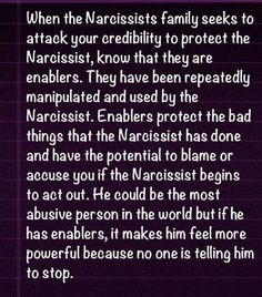 an enabler army..........sounds very familiar. I know this person and his family!