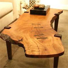Table de bout en bois - 30 - Ahşap masa - Epoxy Home