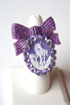 Purple Power Unicorn Ring by blackswanaccessories on Etsy