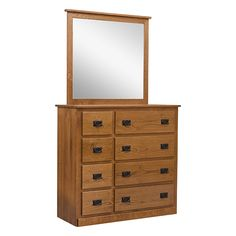 "This elegant 48"" Dresser is made out of unique Character Quartersawn White Oak with beautiful overlay drawers. Notice the knot in the top of the Mirror on the fifth picture. It is one of the attributes of a character wood.   What is Character Wood? It is cut from the outside layer of the log closest to the bark. This results in knots and varying grain patterns. No two units are alike and this feature is for someone that admires unique characters of the wood. It is finished in the OCS 113…"