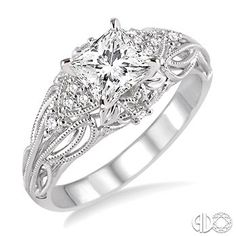 1/2 Ctw Diamond Engagement Ring with 3/8 Ct Princess Cut Center Stone in 14K White Gold