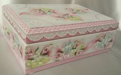 Hand Painted Jewelry Box Pink Cottage Chic Roses Hydrangeas Shabby Lace HP Wood