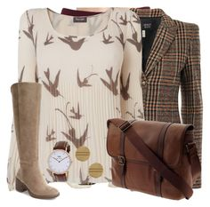 """""""Untitled #147"""" by lightvega ❤ liked on Polyvore featuring Don't Ask Amanda, Armani Jeans, Phase Eight, Lucky Brand, Vince Camuto and FOSSIL"""