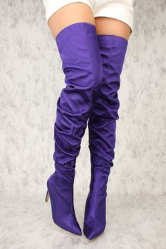 Sexy Purple Pointy Close Toe Slouchy Thigh High Boots