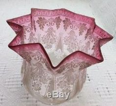 Antique Victorian Cranberry Etched Glass Oil Lamp Shade Antique Oil Lamps, Antique Glass, Etched Glass, Glass Etching, Cranberry Glass, Oil Candles, Carnival Glass, Dream Decor, Lamp Shades