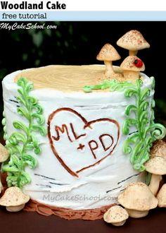 Beautiful Woodland Cake Tutorial in Buttercream! A free cake tutorial by My Cake School!