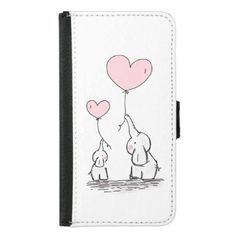 Mother and Baby Elephant with Balloons Samsung Galaxy S5 Wallet Case - customizable diy