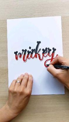 Tuto rapide pour le défi #inspiretonlettering avec ce lettering Disney / Mickey Lettering, Disney, Company Logo, Tech Companies, Logos, Logo, Drawing Letters, Disney Art, Brush Lettering