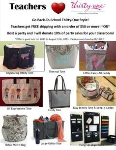 Thirty one teacher appreciation sale! New dates: Offer is good Aug. 1, 2013 – Sept. 8, 2013. You can take advantage of both, FREE SHIPPING and PARTY SPECIAL! Book or Host a party by Sept. 8, 2013, and I will donate 10% of party sales to your classroom. Spend $50 or more by Sept. 8, 2013, and receive FREE SHIPPING! | best stuff