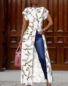 Chain Print Short Sleeve Slit Irregular Blouse Women's Online Shopping Offering Huge Discounts on Dresses, Lingerie , Jumpsuits , Swimwear, Tops and More. Trend Fashion, Look Fashion, Autumn Fashion, Womens Fashion, Fashion Night, Latest Fashion, Fashion Online, Sexy Blouse, Long Blouse