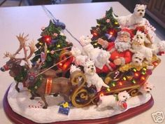 DANBURY MINT WESTIE CHRISTMAS SLEIGH SCULPTURE MIB (12/06/2006)