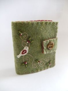 embroidered felt needle book by MoJoJoJo479