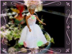 Puppenkleidung - Aprilblüte Kleid mit Häkelblüten für Barbie - ein Designerstück…