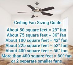 Ceiling fan sizing guide: the general rule of thumb to keep in mind Ceiling Fan Makeover, Small Fan, Up House, Home Lighting, Bedroom Lighting, Bedroom Ceiling Fans, Home Reno, Interior Exterior, My New Room