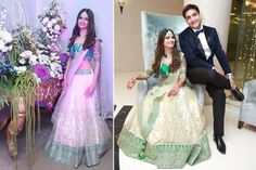 A gorgeous off white lehenga with a green border and embellishments paired with a green blouse from Roop Delhi for Bride Smiti Talwar of WeddingSutra. Photos Courtesy- FlashWave Studios, Ashhiish Kalra and Sourabh Katoch Photography
