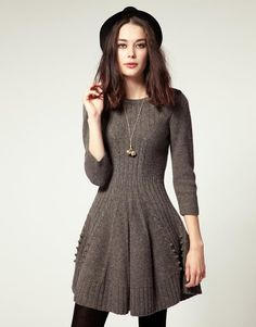 NW3 | NW3 by Hobbs Hills Knit Dress With Skater Skirt at ASOS