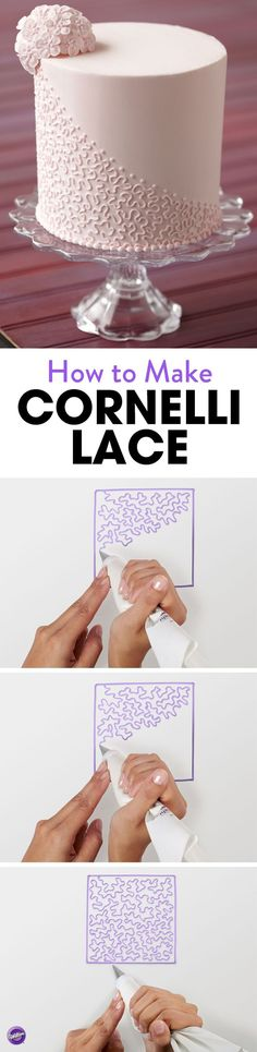 Learn how to pipe a beautiful cornelli lace design for your cake! #cakedesigns