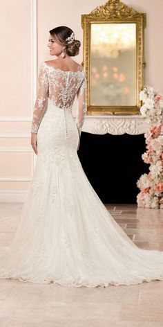 Stella York Long Sleeved Wedding Dress with Illusion Back style 6353 c