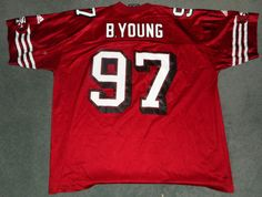 Men's Red & White SAN FRANCISCO 49ers #97 YOUNG NFL ADIDAS Jersey, Size XXL, GUC #ADIDAS #SanFrancisco49ers