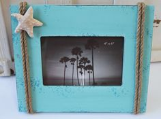 Blue Picture Frame with Nautical Rope & Starfish - Beach Cottage Home Decor - California Seashell Company