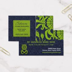 Mini business cards small and skinny by overnight prints crafts navy blue and green damask professional business business card professional gifts custom personal diy colourmoves
