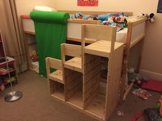 Ikea Trofast made into some safe steps up to the Kura cabin bed!