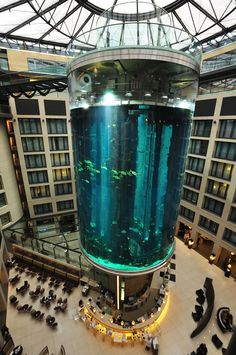 World's largest cylindrical aquarium at Radisson Blu Hotel Berlin.  The highlight of the Sea Life discovery tour is the two-story elevator ride through the middle of the AquaDom, during which guests learn about both the tropical fish inhabitants and the architecture of the AquaDom.