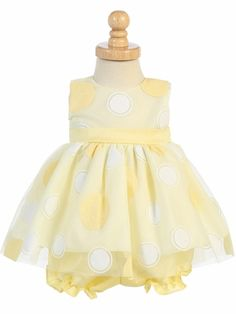 Infant and Toddler Dress Style Glittered Polka Dot Tulle Dress with Bloomers Yellow Flower Girl Dresses, Girls Easter Dresses, Summer Dresses, Toddler Dress, Baby Dress, Yellow Glitter, Baby Bloomers, Baby Yellow, Communion Dresses