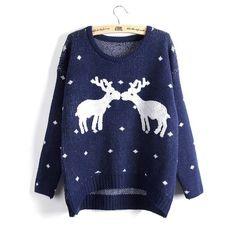 2017 New Winter Reindeer Christmas Sweater Women Female Deer Pullovers Long-sleeve Knit Pullover Women Lady Sweaters