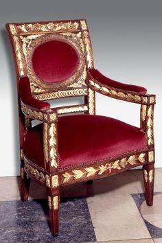 The Landammann's chair, 1806, Basle Frame: beech, carving: limewood(?), gilt height 122 cm, width 83.5 cm, depth 76 cm Inv. 1884.70. / Historisches Museum Basel
