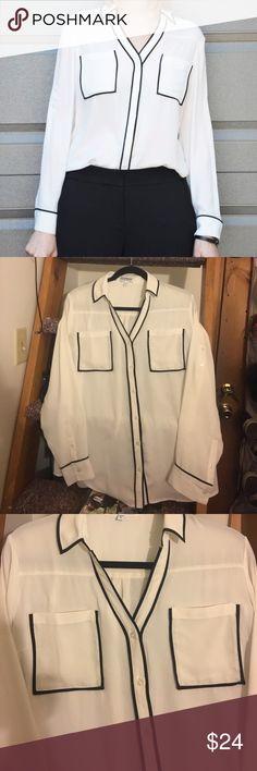 Express Portofino Shirt White button down shirt with black piping. Chiffon material Express Tops Button Down Shirts