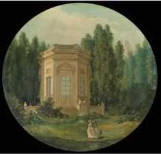 The gardens of the Petit Trianon, the Belvedere at Versailles by Hubert Robert. 18th century.