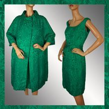 Vintage 1960s Dress / Emerald Green Brocade / with Matching Coat