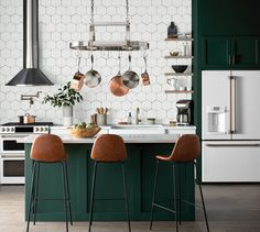 Get inspired by Modern Kitchen Design photo by Wayfair Professional. Wayfair lets you find the designer products in the photo and get ideas from thousands of other Modern Kitchen Design photos. Home Decor Kitchen, Kitchen Furniture, New Kitchen, Home Kitchens, Green Kitchen Island, Dark Green Kitchen, White Tile Kitchen, Green Kitchen Decor, Kitchen Layout