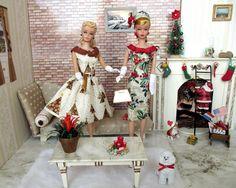Christmas Barbie, Christmas Fashion, Barbie Clothes, Barbie Outfits, Barbie Top, Barbie Patterns, Vintage Barbie Dolls, Barbie Friends, Ball Jointed Dolls