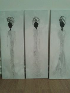 Afrikaanse vrouwen abstract op canvas.