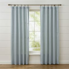 Shop Largo Aqua Linen Curtain Panels.  Made of heavier, weighted linen, these soft aqua curtain panels showcase the fabric's beautiful texture and subtle tonal variations.