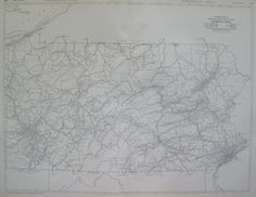 RARE Antique PENNSYLVANIA Map Black and White by plaindealing