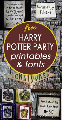 These free Harry Potter party printables and fonts are an easy way to create Harry Potter decorations without having to spend a lot of money. potter drawings easy logo Harry Potter Party Printables and Fonts - Entertaining Diva @ From House To Home Baby Harry Potter, Harry Potter Baby Shower, Harry Potter Motto Party, Harry Potter Fiesta, Décoration Harry Potter, Harry Potter Thema, Harry Potter Classroom, Harry Potter Bedroom, Harry Potter Themed Party