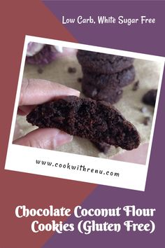 This Chocolate Coconut Flour cookies are a guilt free treat loaded with chocolate and are gluten free, low carb, paleo friendly and has no white sugar. #cookwithrenu #chocolate #coconutflour #lowcarb #whitesugarfree #glutenfree #cookies #glutenfreecookeis #paleo #delicious Vegetarian Desserts, Delicious Desserts, Dessert Recipes, Gluten Free Cookies, Gluten Free Baking, Chocolate Lovers, Chocolate Recipes, Coconut Flour Cookies, Gooey Chocolate Chip Cookies