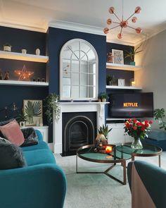 Navy Living Rooms, Blue Living Room Decor, New Living Room, Living Room Sofa, Home And Living, Living Room Designs, Victorian Living Room, Victorian Fireplace, Snug Room
